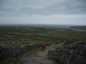 Rob on the path below Dun Aengus
